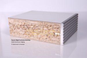 Square edged worktop edges with solid aluminium
