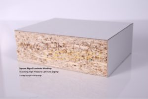 Square edged worktop edged with matching laminate